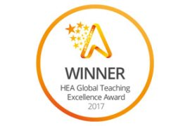 Global Teaching Excellence Award logo, won by the University of Huddersfield in 2017.