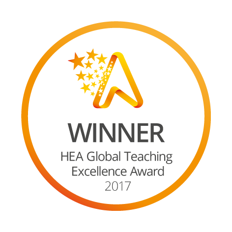 Picture of the Global Teaching Excellence Award logo, won by the University of Huddersfield in 2017.