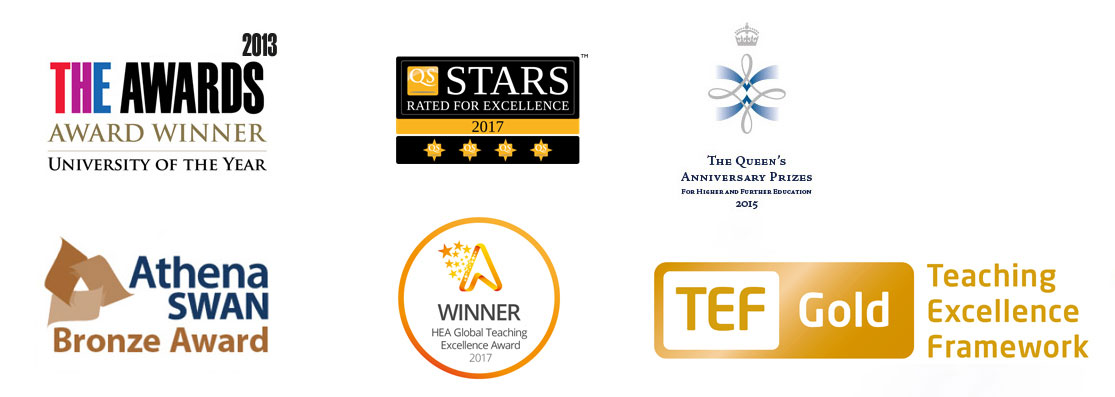 A selection of the University's recent awards including THE Awards, QS Stars, The Queen's Anniversary Prizes, The Queen's Awards, Athena Swan, HEA Global Teaching Award, TEF Gold, TEF, Teaching Excellence Framework, Prizes