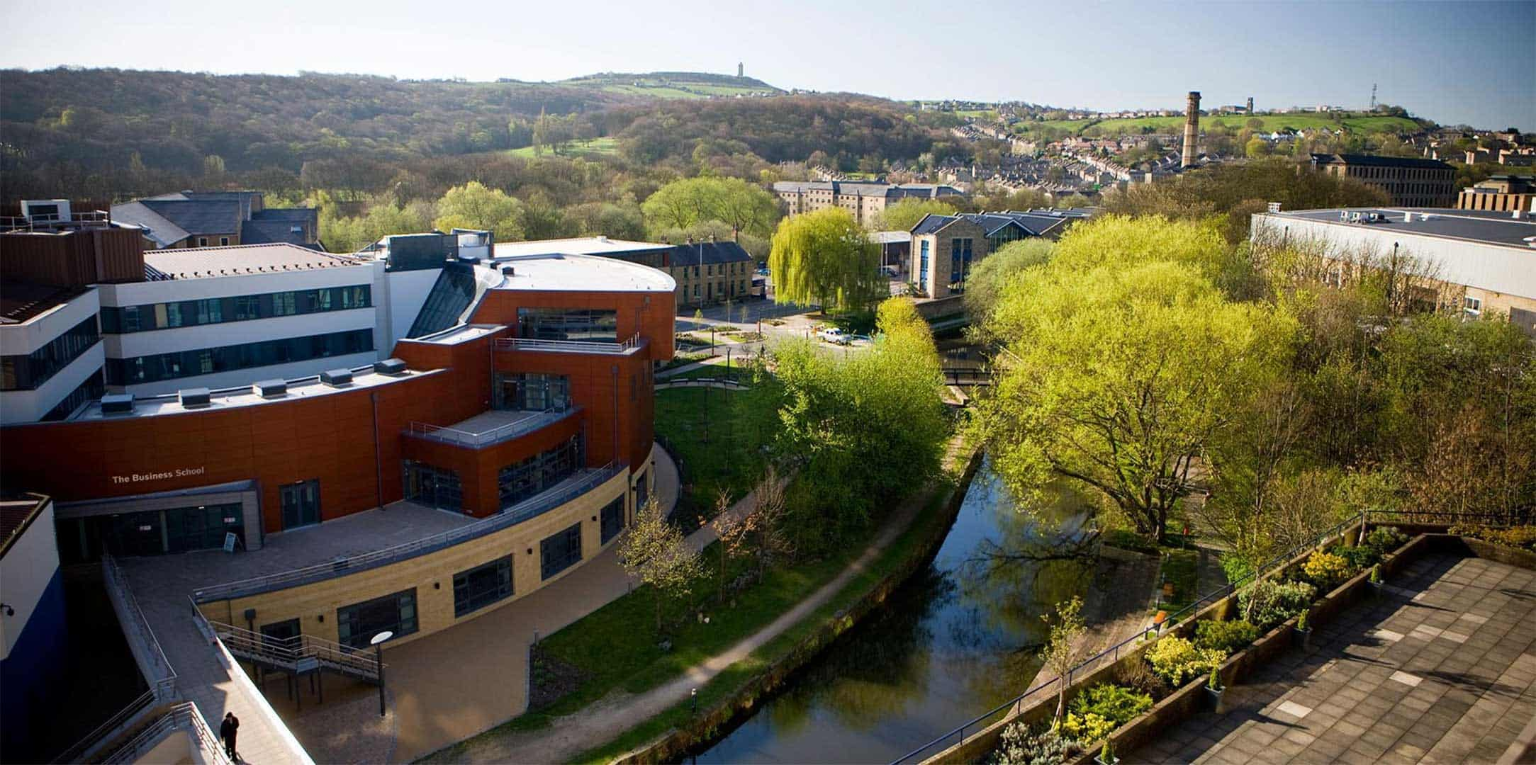 A picture of the Huddersfield business school as an aerial shot that will be used for our business school sites.