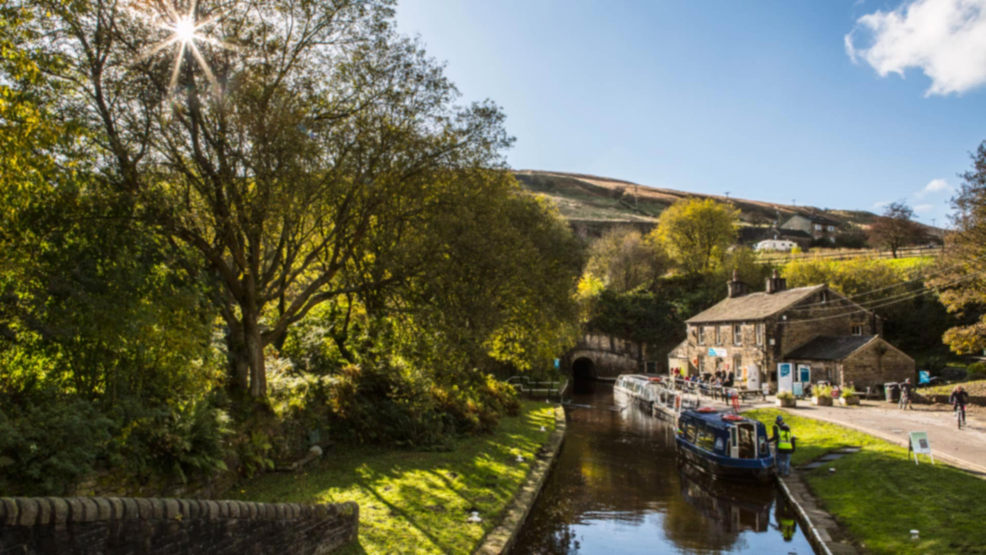 A view over the canal of the tunnel end at Standedge, Marsden