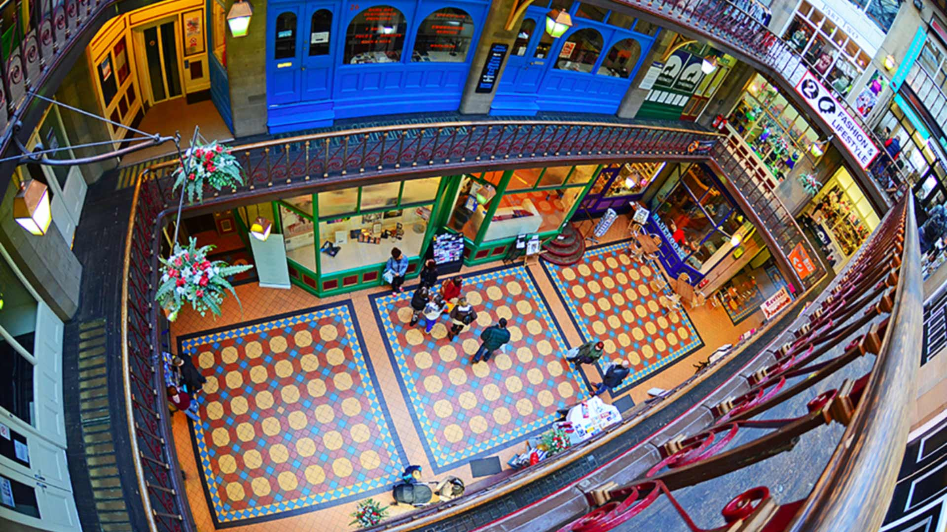 An aerial view of the inside of the Byram Arcade shopping arcade