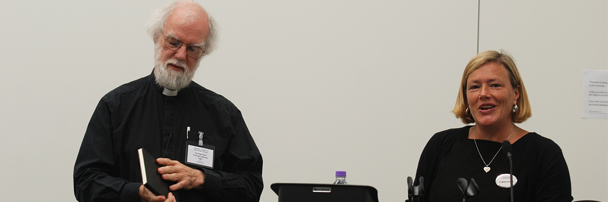 Conference organiser Dr Melanie Rogers with keynote speaker Dr Rowan Williams