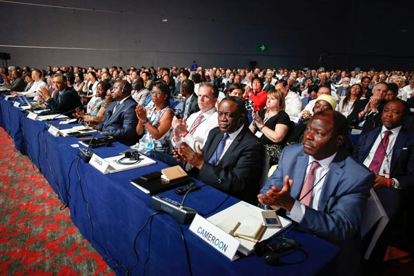 Audience members at the disaster risk reduction global platform