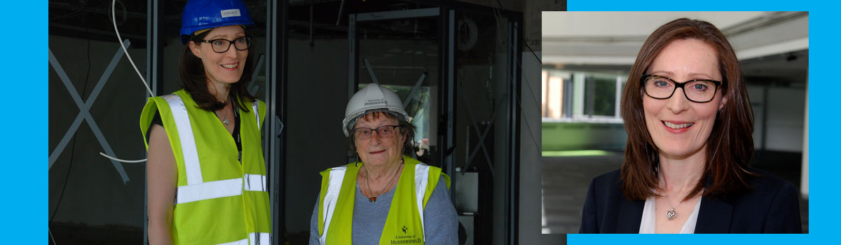 New HHLC Director Emma King with Holocaust survivor Iby Knill during construction of the new centre
