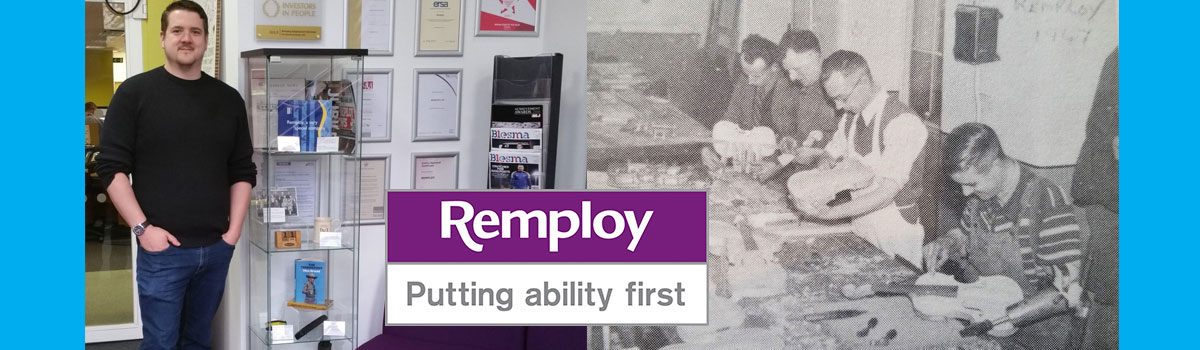 Andy Holroyde pictured alongside people working at Remploy