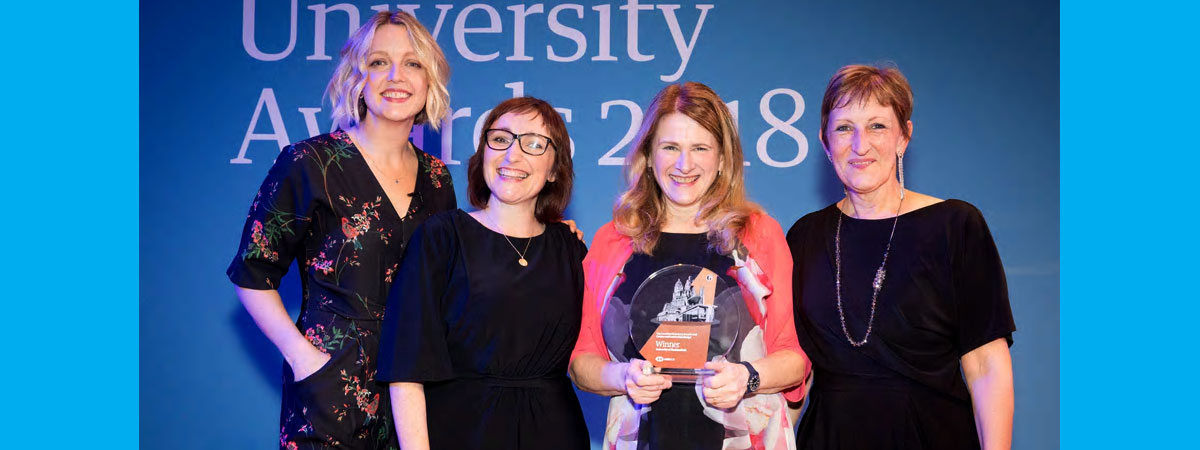 Pictured at the award ceremony (l-r) broadcaster Lauren Laverne, who hosted the awards, and the university's Katy Suggitt, Professor Christine Jarvis and Dr Jane Wormald