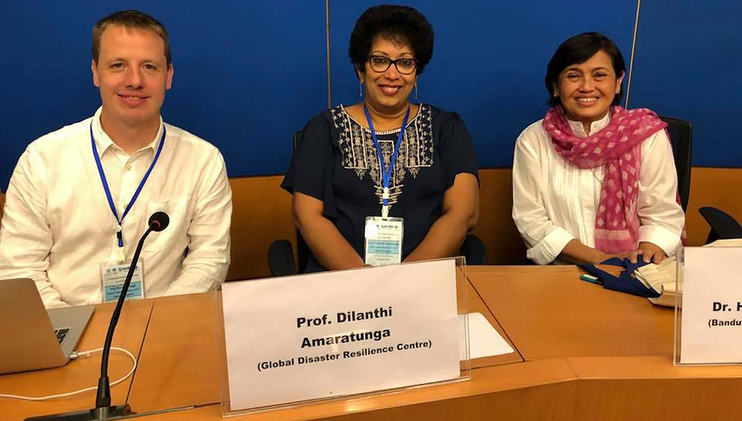 Professor Haigh and Professor Amaratunga with Dr Harkunti Rahayu at the Bandung Institute of Technology