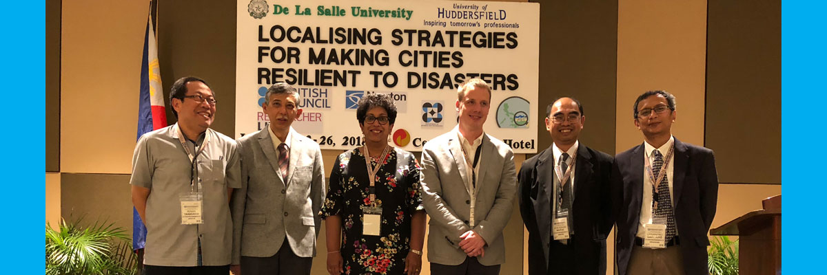 Professor Dilanthi Amaratunga and Professor Richard Haigh (centre) at the Philippines conference at De La Salle University