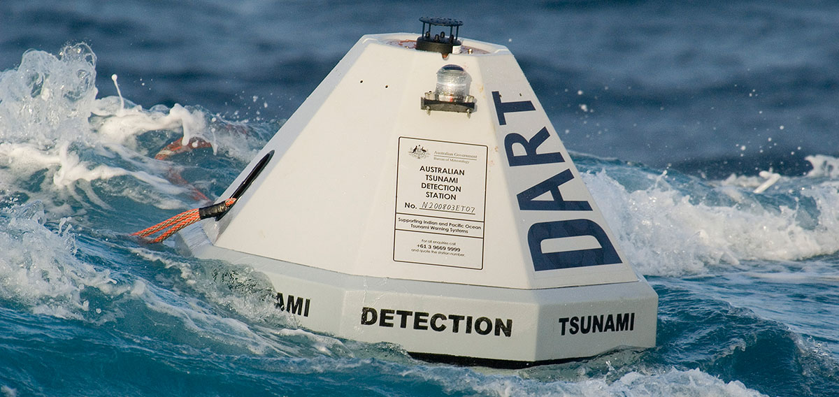 A tsunami detection buoy monitoring seismic disturbance in the ocean