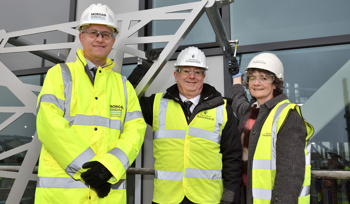 Morgan Sindall's Pat Boyle, University Vice-Chancellor Professor Bob Cryan and Dr Sophie Bowness