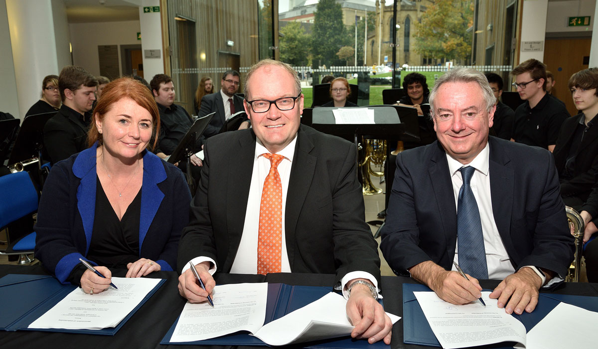 Signing the Memorandum of Understanding (l-r) CEO of Kirklees Council Jacqui Gedman, Arts Council England Chief Executive Darren Henley and the University's Vice Chancellor, Professor Bob Cryan