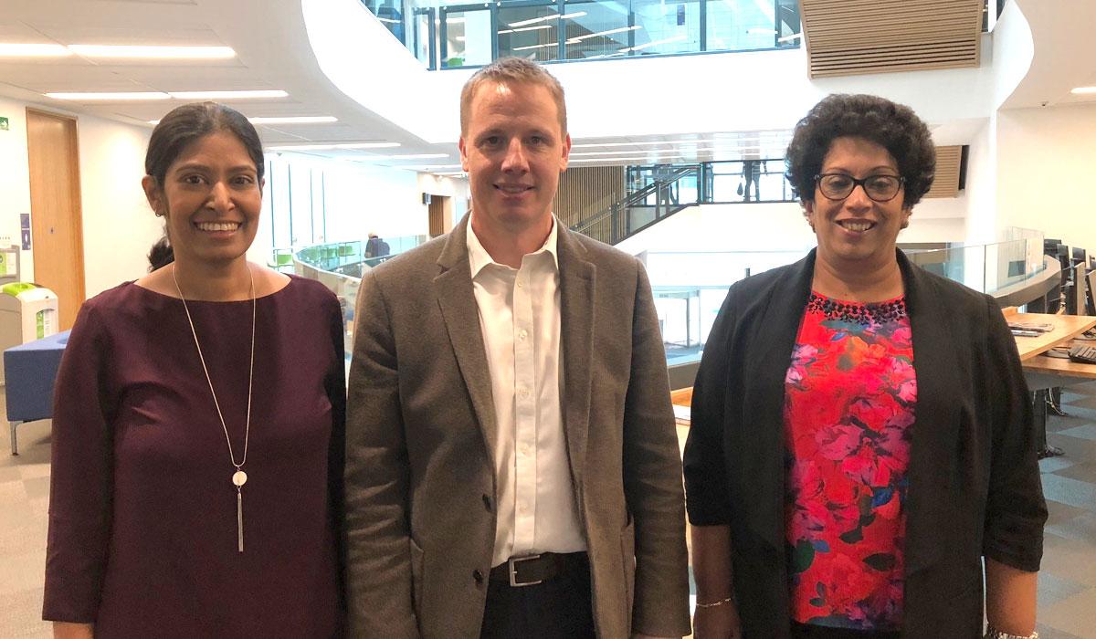 (L-R) Dr Chamindi Malalgoda, Professor Dilanthi Amarantunga and Professor Richard Haigh