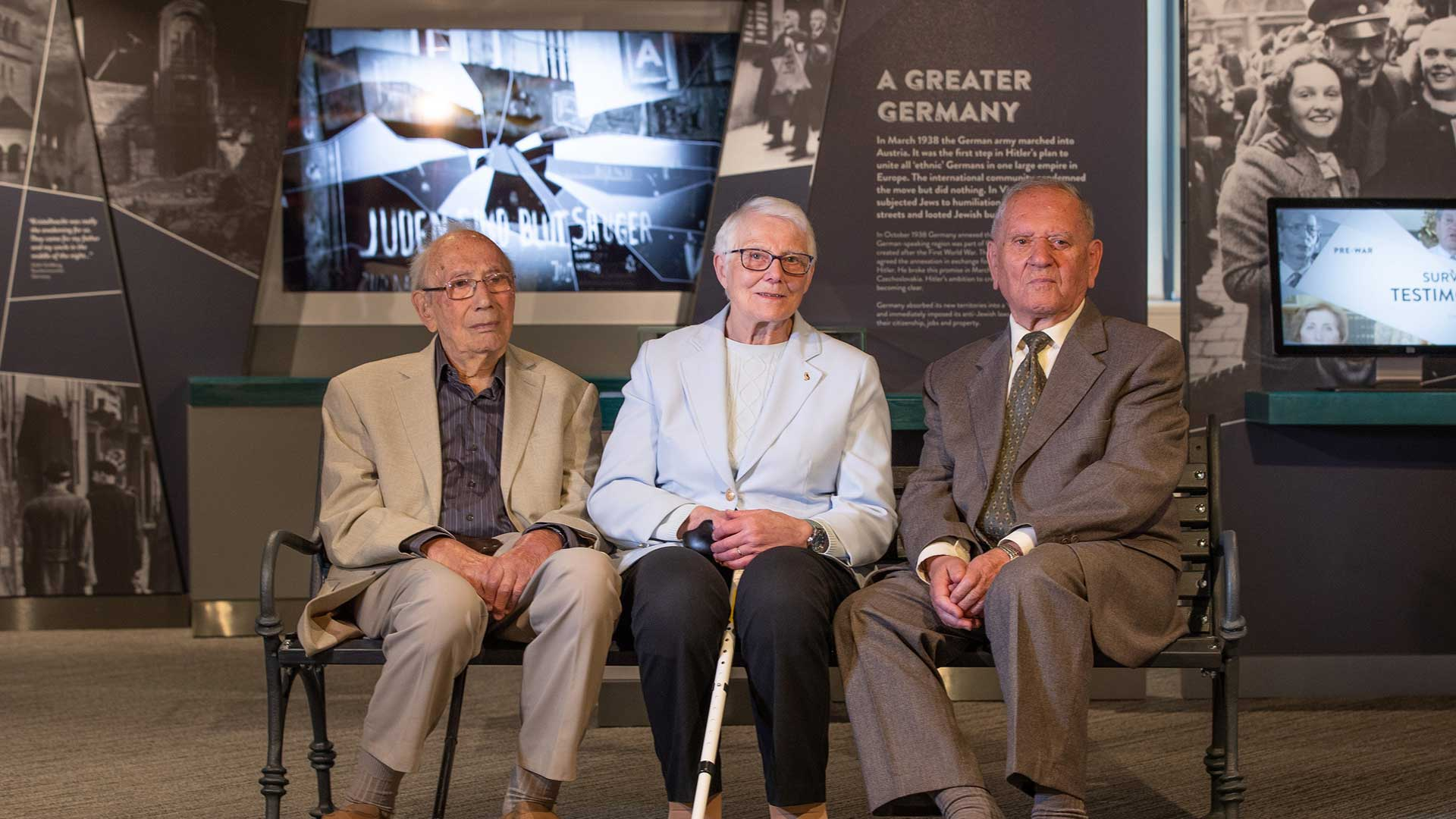 Holocaust survivors welcomed to the new Centre, (l-r) Heinz Skyte, Trudie Silman and Arek Hersh