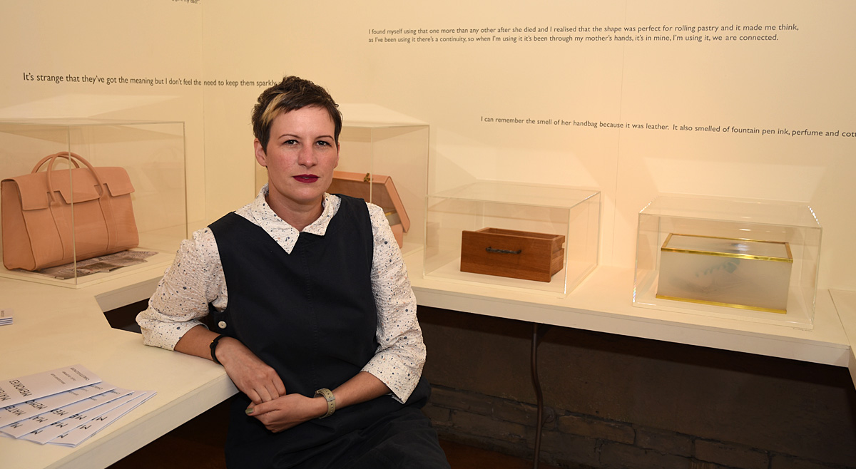 Artist and lecturer, Charlotte Goldthorpe, at the exhibition