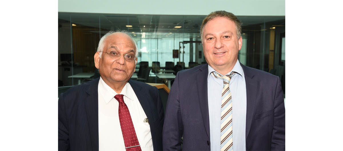 The University's Dr Pavlos Lazaridis (right) is pictured with the President of the CTIF Global Capsule, Professor Ramjee Prasad of Aarhus University in Denmark
