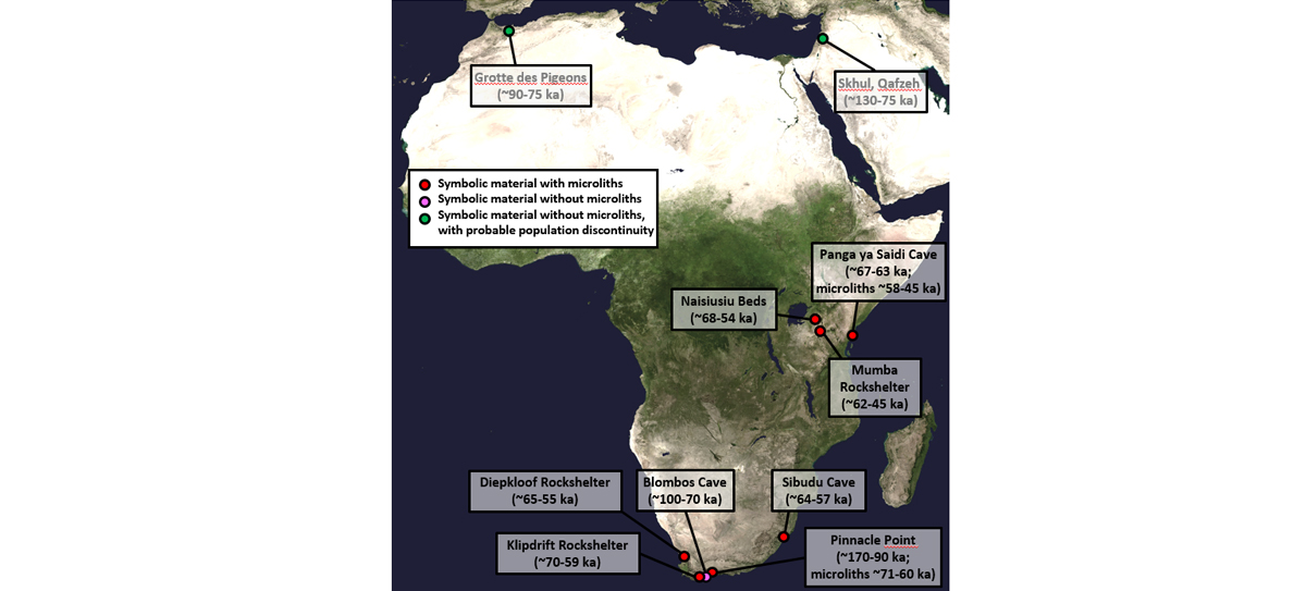 Map showing early African archaeological sites with evidence for symbolic material and microlithic stone tools. [Base map credit: http://visibleearth.nasa.gov/view.php?id=57752 (NASA Goddard Space Flight Center Image by Reto Stöckli).]