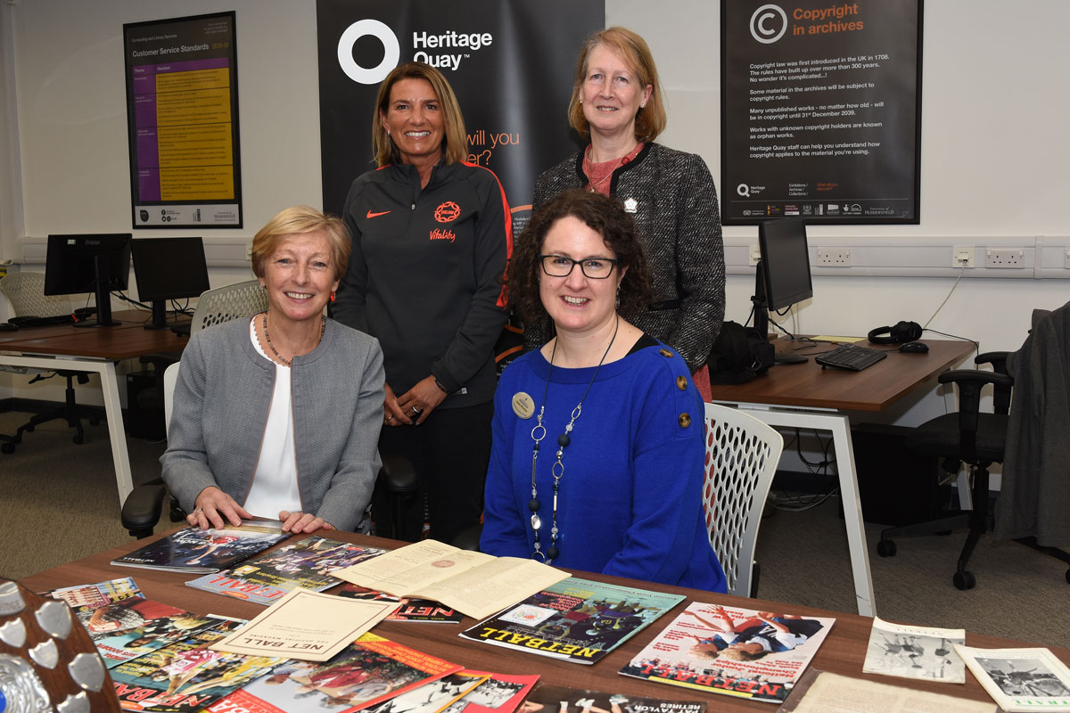 Pictured in the University's Heritage Quay (l-r) CEO of UK Sport Liz Nicholls CBE, CEO of England Netball Joanna Adams, University Archivist and Records Manager Sarah Wickham and President of England Netball Lindsay Satori.
