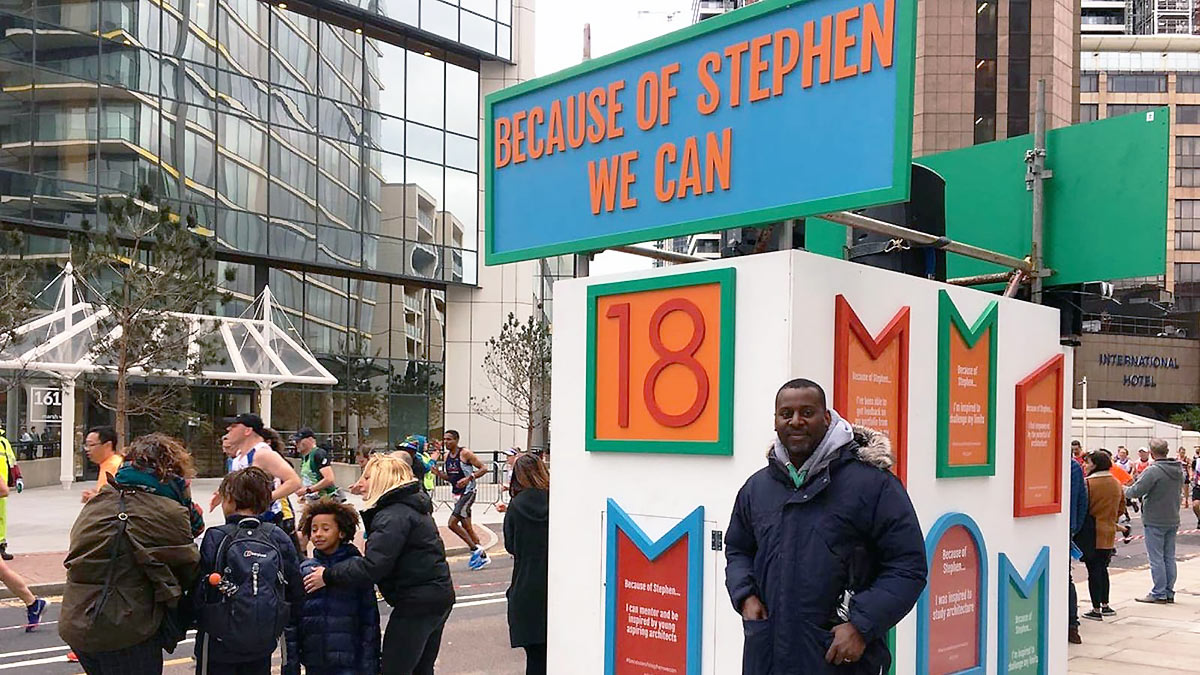 Stephen Lawrence's brother Stuart visited the 18 mile marker to commemorate the murder of his teenage brother