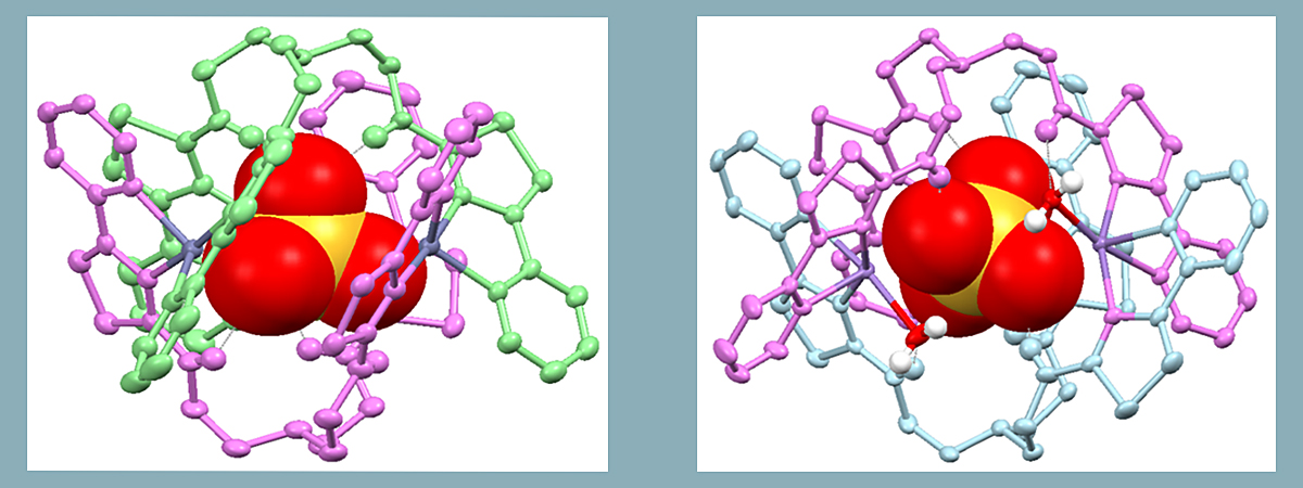 Two different compounds were generated using zinc (left) and manganese (right).