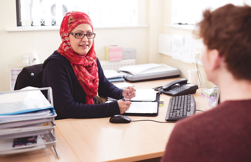 The Advice Centre in the Students' Union offers students advice on a range of issues. Pictured is a student receiving advice from the Students' Union. The Advice Centre is based in Student Central