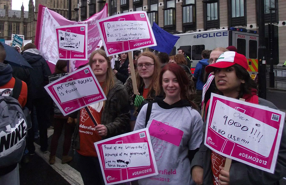 At The University of Huddersfield, students have a voice. Whether you stand for election or attend a protest march about tuition fees, we want to hear from you. Pictured are students on a protest march in London petitioning the government about the tuition fee rise
