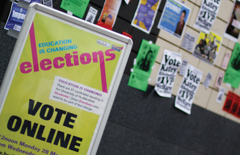 If you want to make a difference at University, make sure you stand in the student elections. Pictured is a poster advertising the elections.